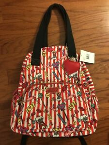 Betsey Johnson Backpack Tote Candy Lane School Travel Diaper Bag Red Striped NWT
