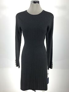 Tommy Hilfiger NewWT Elegant CHARCOAL  Fit&Flare cable design Sweater Dress S L
