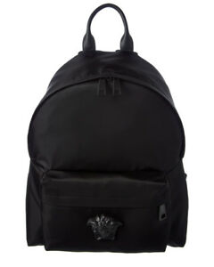 Versace Mens  Medusa Nylon & Leather Backpack Black