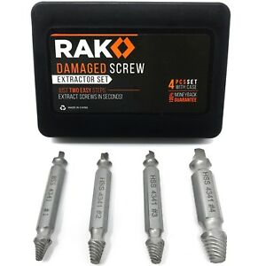 RAK Screw Extractor Set Removes Damaged & Stripped Screws and Broken Bolts