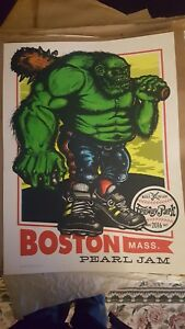 Pearl Jam Poster Green Monster Fenway Park Boston 2016 Ames Bros.