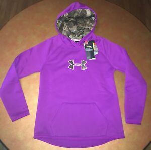 Under Armour UA Storm Cold Gear Caliber Hoodie Purple Camo Youth Girls Medium
