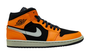 Air Jordan 1 Mid Retro (Black  Cone  Light Bone) Orange [554724-062] Mens 8-13