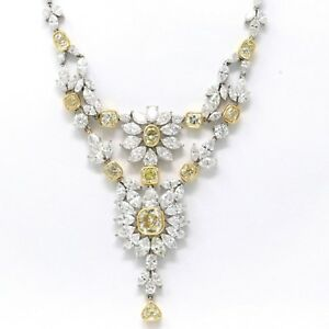 Handmade 18k White Gold Blossoming Flower Diamond Necklace (44.97 ct)