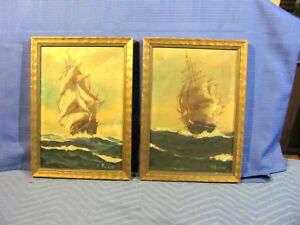 Antique OC Pair of Paintings of Clipper Ships by T. Bailey (Listed Artist)