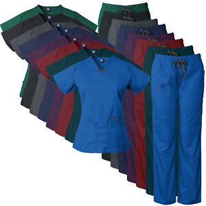 Medgear Womens scrub set Utility 4 pocket top 7 Pocket 2043 pant with D ring
