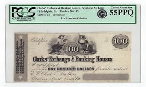 18__ Clarks' Exchange & Banking HousesPhil. Pa - $100 Remainder Note PCGS 55PPQ