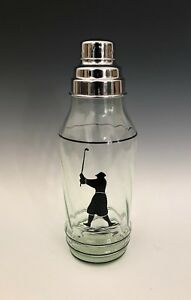 Hand Painted Golfer Depression Glass Cocktail Shaker 11.25
