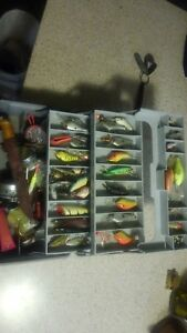 Huge Tackle lot full box of lures crank baits TO MUCH TO LIST!