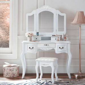 Tri Folding Mirror White Wood Vanity Set Makeup Table Dresser 5 Drawers Stool
