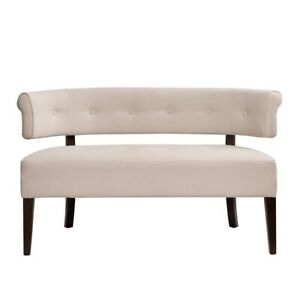 Jared Roll Arm Tufted Bench Settee Cream