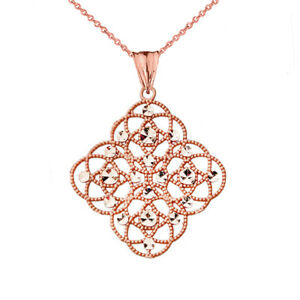 14k Rose Gold Handmade Designer Boho Chic Statement Pendant Necklace