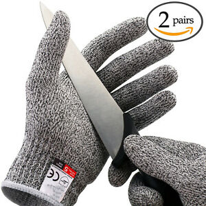 2Pairs Butcher Glove Cut Proof Stab Resistant Safety Gloves Kitchen L5 Protectio $8.50