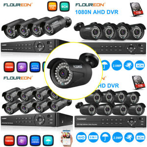 IP66 8CH 1080N AHD DVR 8X4X 3000TVL 1080P 2MP IR Security Camera System Kit 1TB