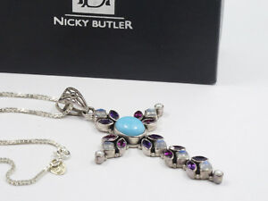 NICKY BUTLER STERLING TURQUOISE AMETHYST MOONSTONE PEARL CROSS NECKLACE NIB
