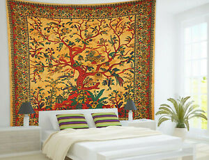 Indian Mandala Wall Hanging Yellow Tree of Life Cotton Bedspread Queen Tapest