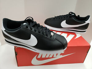 NIB Mens Nike Cortez Basic Leather Black Metallic Silver White 819719 012 $69.95