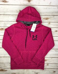 Womens Under Armour Hoodie UA Coldgear Printed Pullover Pink Magenta S M L XL $32.91
