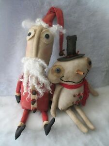 Primitive Santa and Snowman Winter Holiday Fabric Dolls