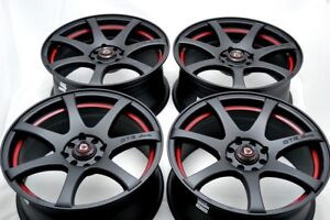 4 New DDR ZK15 17x7.5 4x100114.3 35mm Matt BlackRed Undercut Wheels Rims