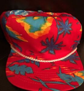 Vintage SAN SUN Palm Trees Tropical Snapback Trucker Hat Rope Cap Hat