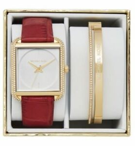 NEW! MICHAEL KORS LAKE Gold & Red Leather Watch & Bracelet Gift Set MK3829 $350
