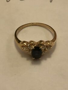 14KT YELLOW GOLD SAPPHIRE SOLITAIRE & NATURAL DIAMOND RING  SIZE 5.75  1.9g