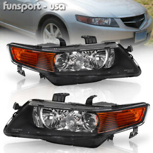 for 2004 2005 Acura TSX Black Projector Headlights Headlamps Assembly LeftRight $109.68