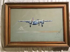 Rare original signed watercolor painting Harry Jaffee WW2 US ARMY Aviation 1942