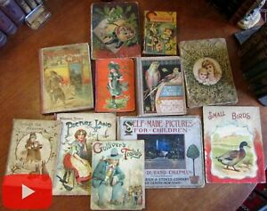 Children#x27;s Books 1880#x27;s 1916 Colorful lot x 10 w many chromolithography plates $300.00