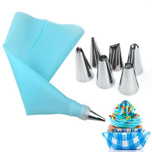 8 x Pastry Nozzles Icing Piping Tip Set + Stainless Steel Bag Converter for Cake