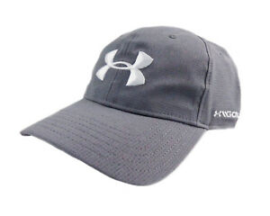 NEW Under Armour Golf Free Fit Armourvent GreyWhite Adjustable HatCap