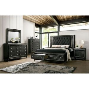 LED Light Trim Headboard Button Tufted Queen Storage Bedroom Furniture 1pc Bed