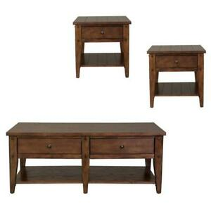 3 Piece Coffee Table and Set of 2 End Table in Oak