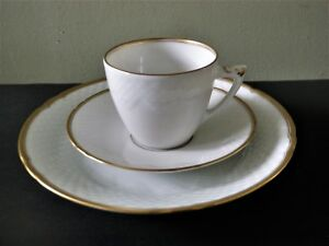 Bing Grondahl White Fish Scale Trio: Cup Saucer Plate 6 Sets Available $30.00