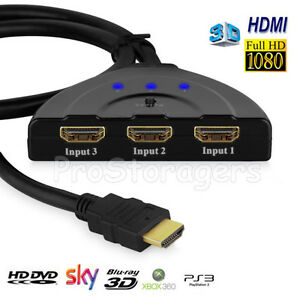 3 Port 1080P HDMI Splitter Auto Switch Hub 4K Adapter Cable 3D For PS4 Xbox 360