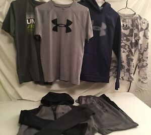 Lot of 6 Boys Under Armour Pullover Hoodie Shirts Jacket Pants Youth Sz XL