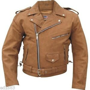 Mens Brown Сowhide Leather Top Quality Motorcycle Jacket Chest 54 56 58 60