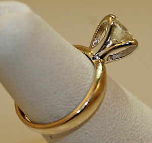 WOMEN'SLADIE'S SOLITAIRE 1.53 CARAT DIAMOND RING TULIP DESIGN 14K YELLOW GOLD