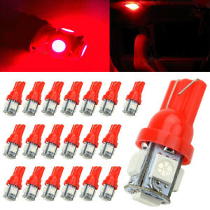 20X T10 Red 5050 5smd Wedge LED Interior Light Bulb W5W 194 168 2825 192 175 158