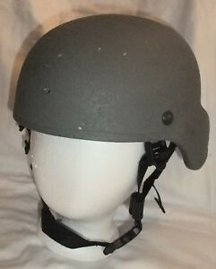 ACH MICH Gentex Army Advanced Combat Helmet Kevlar Large Skydex Pads Chin Strap