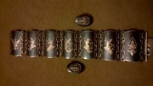 Vintage Sterling Silver Bracelet And Earrings From Siam