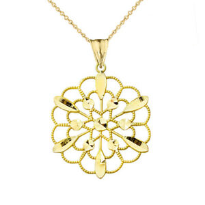 Handmade Designer Boho Floral Milgrain Statement Pendant Necklace In 14K GOLD