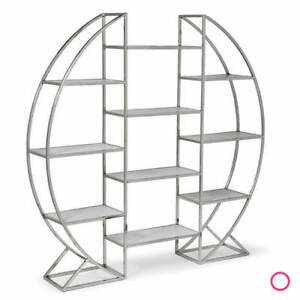 Regina Andrews Design Hoop Etagere Polished Stainless Steel Polished Nickel
