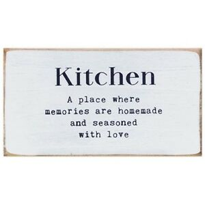 New Shabby Farmhouse Chic Whitewash KITCHEN LOVE amp; MEMORIES Wood Block Sign 6quot;