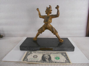 Antique BRONZE BRASS ORMOLU SCULPTURE JUGGLER 1775 FIGURE STATUE Marble Base