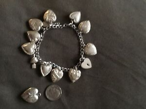 Antique Sterling Silver 10 PUFFY HEARTS CHARM BRACELET 7 Engraved On Back