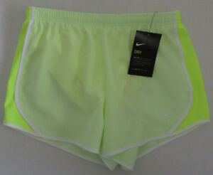 NWT NIKE Dri Fit Girls' Dry Tempo Running Shorts Neon Green Size L