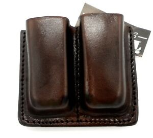 TAGUA Premium Brown Leather Double Magazine Carrier for 45 SINGLE STACK