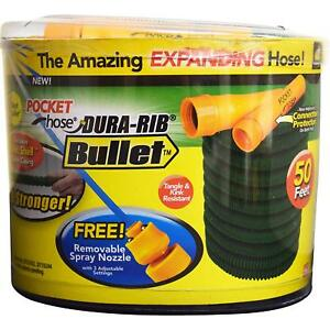 Pocket Hose Bullet 50Ft Expandable Garden Hose by BulbHead No Hose Reel Needed